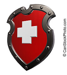 switzerland - metal shield with switzerland flag - 3d...