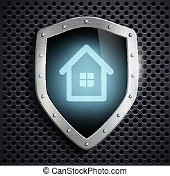 metal shield with the image of the house