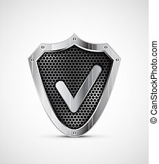 Metal shield with tick. Vector protection icon