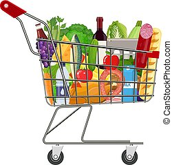 Metal shopping cart full of groceries products.