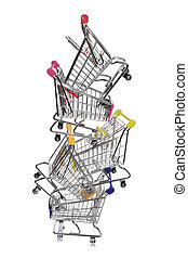 Metal shopping cart on white background