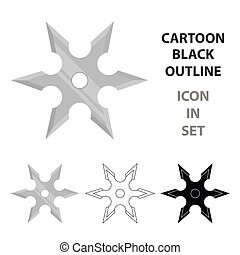 Metal shuriken icon cartoon. Single weapon icon from the big...