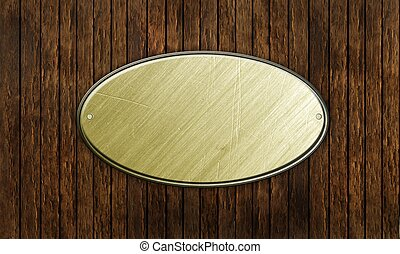 metal sign on wood plank background