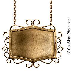 metal, signboard, aislado, ahorcadura, cadenas, bronce