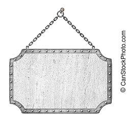 metal, signboard, con, cadenas, aislado