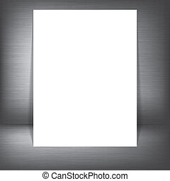 Metal silver background with white paper