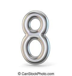 Metal silver font. Number EIGHT 8 3D