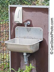 Metal sink outside