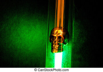 Metal Skull Placed in Flask and Illuminated by Green Light on Dark Background