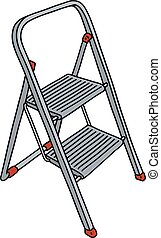 Hand drawing of a metal small stepladder