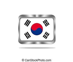 Metal South Korea flag.