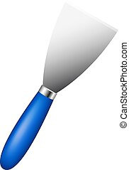 Metal spatula with blue handle