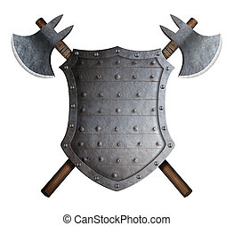 metal spiked shield and two crossed battle axes 3d...