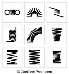Metal spiral flexible wire elastic spring vector icons....