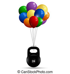 Metal sport weight on a bunch of balloons