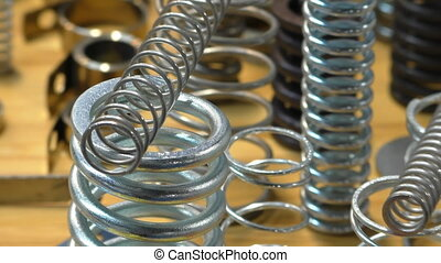 Metal spring assortment selection - Close up of variety of...