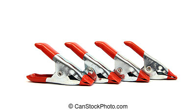 metal spring clamps - silver and red industrial spring...