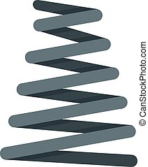 Metal spring coil icon, flat style - Metal spring coil icon....