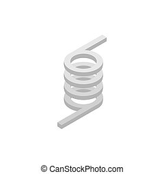 Metal spring icon, isometric 3d style