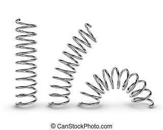 Metal spring on white background - Three-dimensional...