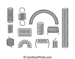 Metal spring set. A twisted spiral, elongated compressed ...