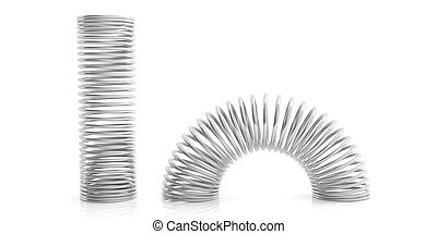 Metal springs on white background. 3d illustration