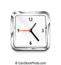 Metal square clock icon. Vector illustration - Vector...