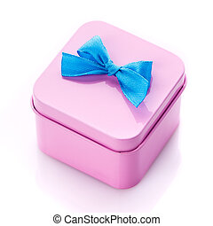Metal square pink gift box on white background.