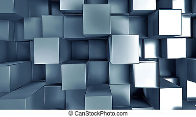 metal squares 3D abstract background