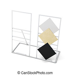 Metal stand for tiles isolated on white background. 3d rendering