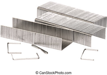 Metal Staples Macro - Isolated macro image of metal staples.