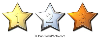 metal star prizes - 3d Shiny gold silver and bronze stars...