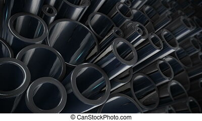 """metal steel pipes"" - ""Heap of shiny metal steel pipes"""