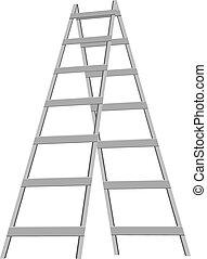 A metal stepladder on the six steps. Vector illustration.