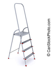 metal stepladder on a white background. 3d rendering
