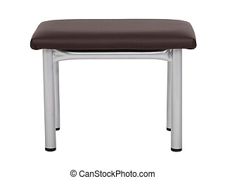 Metal stool with leather seat