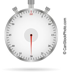Metal stopwatch in a realistic style with shadow on a white background