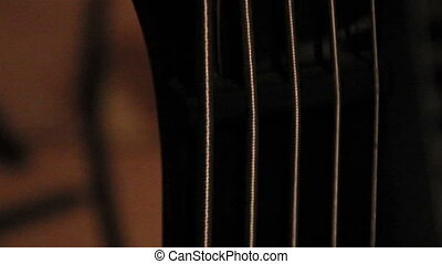 Metal Strings of a guitar a musical instrument have both straight and curly