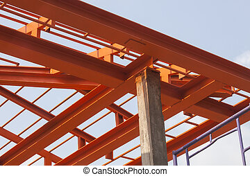 metal structure of house roof in home construction site use...