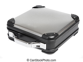 Metal suitcase on a white background