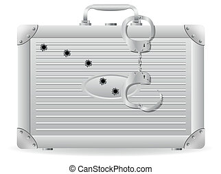 metal suitcase with handcuffs