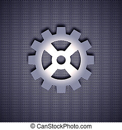 Metal symbol - Cogwheel symbol with 3d effect, symbol...