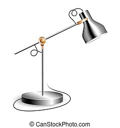 Metal table lamp with joint and shiny chrome shade