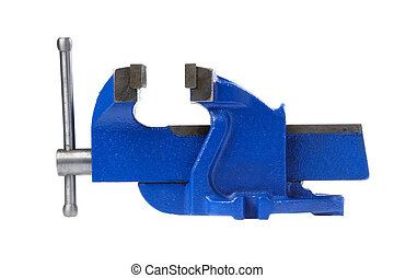Metal table vise clamp isolated on white background.