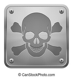 Metal tablet with skull and cross-bones.
