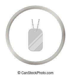 Metal tags hanging on a chain icon monochrome. Single weapon icon from the big ammunition, arms set.