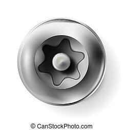 Metal tamper resistant torx screw, bolt with a cylindrical head. Shiny cap twisted in surface isolated on white background. Macro chrome top view of wide a hat metalwares. Vector illustration Eps 10.