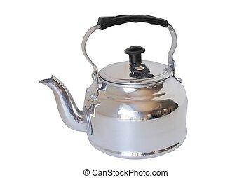metal tea pot - stainless steel tea pot against an isolated...
