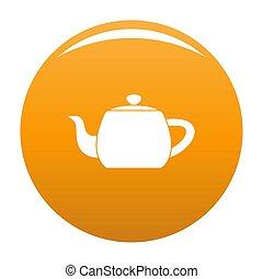 Metal teapot icon orange