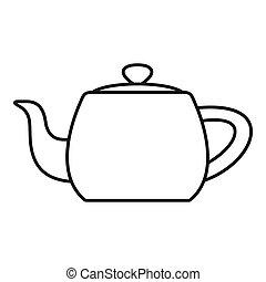 Metal teapot icon, outline style